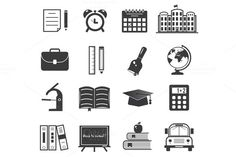 Check out Back to school icon set by robuart on Creative Market