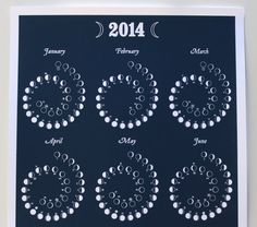 2014 MOON CALENDAR in Night Sky - Silkscreen Print