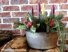 Cranberry Morning: Vintage Advent Wreath More Primitive Christmas, Country Christmas, All Things Christmas, Christmas Home, Vintage Christmas, Christmas Holidays, Christmas Crafts, Christmas Decorations, Holiday Decorating
