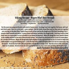 Photo: A Viking Age Rye Bread recipe via CookIt! - for the competent historical baker. Medieval Recipes, Ancient Recipes, Viking Recipes, Rye Bread Recipes, Grandma's Recipes, Lunch Recipes, Viking Food, Nordic Recipe, Norwegian Food