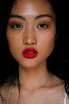 "versacegods: ""Jing Wen @ Burbbery Prorsum Spring 2015 Backstage """
