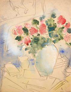 Marc Chagall - Vase de Roses, Étude
