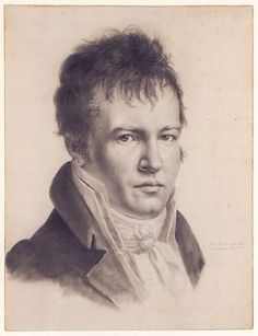 Self-Portrait of Alexander, Paris, 1814 - Alexander von Humboldt (1769-1859) was a Prussian geographer, naturalist & explorer. Humboldt's quantitative work on botanical geography laid the foundation for the field of biogeography. Between 1799 & 1804, he travelled extensively in Latin America, exploring & describing it for the first time in a manner generally considered to be a modern scientific point of view. By the early 1800s, Humboldt was one of the most famous men in Europe.