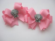 Elephant Hair Bow Set by lillybellabows on Etsy, $14.50