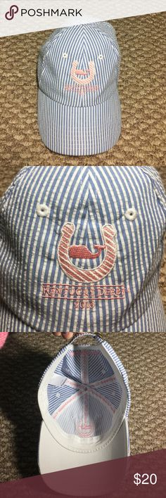 Vineyard Vines Kentucky Derby 2016 hat This blue seersucker Vineyard Vines hat is SO cute!! Says Kentucky Derby 2016 in light pink with a horseshoe and whale. On the back it says Vineyard Vines!! Only worn once! New condition Vineyard Vines Accessories Hats