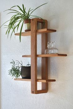 Modern Wood Wall Shelf, Solid Cherry for Hanging Plants, Books, Photos. Mid-ce - New Ideas Woodworking Projects Diy, Woodworking Furniture, Diy Wood Projects, Diy Furniture, Modern Wood Furniture, Woodworking Plans, Awesome Woodworking Ideas, Woodworking Beginner, Woodworking Organization