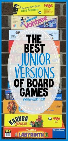 This is a list of our very favorite junior versions of adult board games! All of these are perfect for our 6 year old and there are even a few that our 2 year old can fully participate in. Some of our favorite games for family game night are included in this list! #boardgames #familygames #gamenight #kidsgames #dadsuggests Board Games For Girls, Popular Family Board Games, Top Games For Kids, Indoor Games For Adults, Top Board Games, Most Popular Games, Classic Board Games, Games For Teens, Adult Games