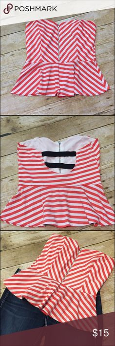 Strapless Top Adorable red and white strapless top with zipper enclosure 2 elastic straps detailing on back. Size large in great condition 😍 ⚓️ (jeans not included) Tops