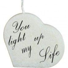 Hartkaars met tekst: you light up my life bij -de online kaarsenwinkel.nl