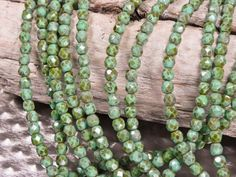4mm Turquoise Picasso Faceted Round Czech Glass Beads  - 50 beads - 517