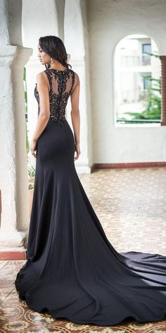 33 Beautiful Black Wedding Dresses That Will Strike Your Fancy ❤ black wedding dresses fit and flare illusion back vintage lace train jasmine ❤ robe dresses dresses beach dresses boho dresses lace dresses princess dresses vintage Black Wedding Gowns, Fancy Wedding Dresses, How To Dress For A Wedding, Fit And Flare Wedding Dress, Wedding Dress Styles, Gothic Wedding, Black White Wedding Dress, Black Lace Gown, 1940s Wedding