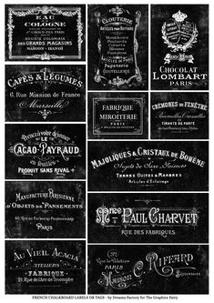 DIY some French Chalkboard Labels! Including 2 Free French Printables and instructions for a fun paint technique! These look lovely when added to Home Decor Projects, great for Gift Wrapping too. Dreamsfactory for Graphics Fairy. Chalkboard Stickers, Chalkboard Labels, Chalkboard Art, French Font, French Typography, Free Graphics, Graphics Fairy, Printable Labels, Free Printables