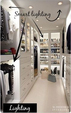 Collection of closet designs to organize your master bedroom, bring comfort and luxury into your home organization. Walk in closet design ideas Modern bedroom design with walk-in closet and sliding doors Custom-built walk-in closets are luxurious Closet Walk-in, White Closet, Closet Space, Closet Ideas, Closet Doors, Closet Drawers, Wardrobe Ideas, Walk In Closet Design, Closet Designs
