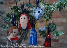Handmade Doctor Who Character Decorations - Bunting or Individual Christmas Tree Decs - Doctor Who/River Song/Amy Pond/Dalek/TARDIS/Cyberman by Incantata @ Etsy.