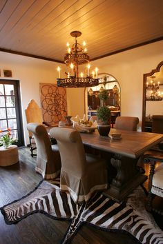 dining room michelleNiday interiors LOVE the zebra rug! Dinning Room Tables, Dining Room Design, Dining Rooms, Home Interior Accessories, Interior Design, British Colonial Decor, Home Office Decor, Home Decor, Dream Decor