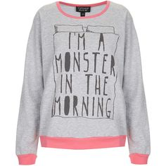 TOPSHOP Monster PJ Sweat Top ($40) ❤ liked on Polyvore featuring tops, sweaters, shirts, pajamas, grey marl and topshop