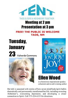 Meeting at 2:00 PM Presentation at 3:00 PM Free! The Public is Welcome Taos, NM