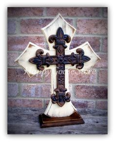 Large Standing Cross Antiqued Beige with Large fleur de lis iron cross, by happygoose Cross Love, Sign Of The Cross, Wooden Crosses, Wall Crosses, Cross Wall Decor, Wall Art Decor, Cross Drawing, Cross Paintings, Beige