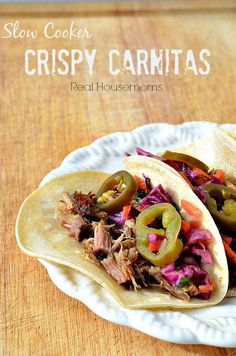 These Slow Cooker Crispy Carnitas are moist and delicious. They get an overnight marinade in Dr. Pepper and then cook in the soda in a slow cooker to make them the most moist meat you'll ever have. Crock Pot Slow Cooker, Crock Pot Cooking, Slow Cooker Recipes, Crockpot Recipes, Cooking Recipes, Pork Recipes, Mexican Food Recipes, Vegan Recipes, Pork Dishes