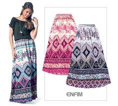 Saia longa é uma das trends favoritas para o verão, invista! #saia #verão #looks #universoenfim #fashion #moda