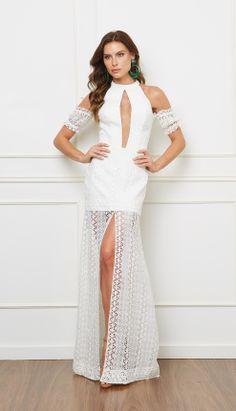 VESTIDO LONGO RENDA - VE21968-99   Skazi, Moda feminina, roupa casual, vestidos, saias, mulher moderna