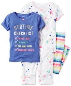 Carter's 4-Pc. Bedtime Checklist Pajama Set, Baby Girls (0-24 months) - Purple 24 months