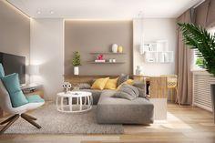 Wohnzimmer in Taupe und Grau mit gelben Akzenten mit Arbeitsplatz