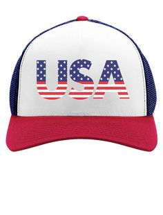 4a7f3256d87 American USA Flag - 4th of July Independence Day - Trucker Hat Mesh Cap  Star Spangled