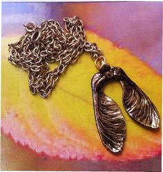 Real Natural Leaf Jewelry, Bronze Maple Seed, Link chain, exclusive patina by Nature's Leaves. $13.95, via Etsy.