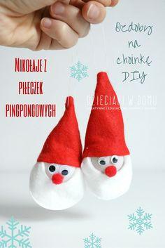 Mikołaje - ozdoby choinkowe z piłeczek pingpongowych dla dzieci DIY