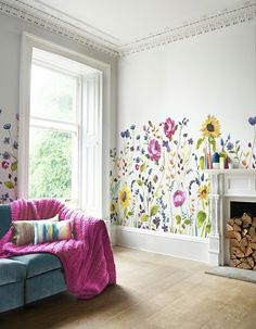 Depicting a stunning wild Scottish garden; discover the Bluebellgray North Garden Wallpaper. Featuring jewel-toned Anemone flowers and delicate chalky Delphiniums; inky watercolours are mixed with pencil and chalk lines to create this beautiful signatu Garden Wallpaper, Field Wallpaper, Wood Wallpaper, Wallpaper Direct, Wallpaper Panels, Wallpaper Samples, Wallpaper Murals, Cottage Wallpaper, Bedroom Wallpaper