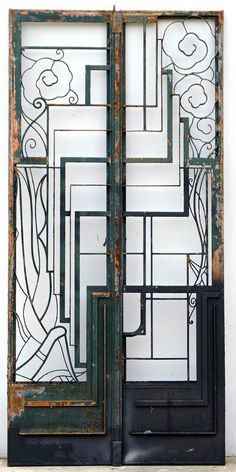 A pair of art deco iron gates - Structural - Gates - Architectural - Carter's Price Guide to Antiques and Collectables