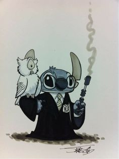 Disney Stitch as. Harry Potter, right? Disney Stitch, Lilo E Stitch, Cute Stitch, Disney And Dreamworks, Disney Pixar, Disney Magic, Disney Art, Hogwarts, Disney Kunst