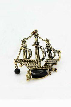 Black Pearl Shaped Brooch