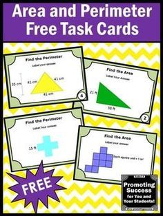FREE Download Area and Perimeter Task Cards 3rd 4th Grade Math Stations: You will receive 6 geometry task cards to use in your math centers as a review, test prep or quick formative assessment. You will receive 20 game and activity ideas. Students may have a scavenger hunt, play SCOOT, work in small groups and more.