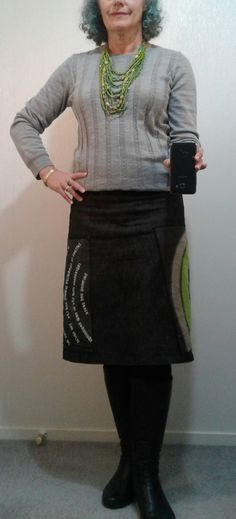 This koru patterned skirt always gets compliments. Worn with grey merino top, big green necklace and black boots. #50+, #teacher style