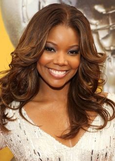 71. Gabrielle Union African American Hairstyle: Fancy flicks  Actress and former model Gabrielle Union wears her stunning long hair in layered, fancy flicks. We love her hair colour choice as it warms up her flawless complexion. The layers and flicks soften the angles of her face and create a beautiful frame for her best features.