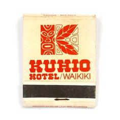 Kuhio Hotel Waikiki matchbook #vintagefinds #vintageproducts #vintagetypography #vintagepackagedesign #vintagepackaging #vintagehawaii #tiki #vintagematches #vintagematchbook by purveyors_of_packaging
