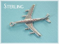 American Airlines Airplane - Sterling Silver Air Travel Enamel Charm Pendant - For Charm Bracelet - Estate Antique - FREE SHIPPING by FindMeTreasures on Etsy