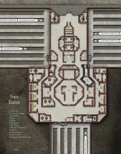 Train Station; shadowrun, floorplan Star Wars Rpg, Fantasy Map, City Maps, Building Map, Games Zombie, Shadowrun Rpg, Cyberpunk 2020, Sci Fi Rpg, Dungeon Maps