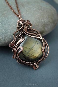 Green Labradorite pendant Copper pendant Wire wrap pendant