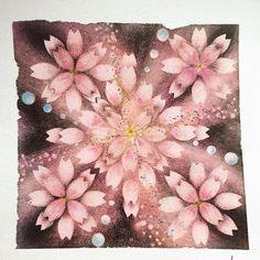 【akko.mura】さんのInstagramをピンしています。 《さくら〜 さくら〜 花ざかり〜•*¨*•.¸¸♬ 季節はずれの夜桜 #桜#夜桜 #パステルアート#パステル和アート #パステル曼荼羅アート #sakura #pastelart》