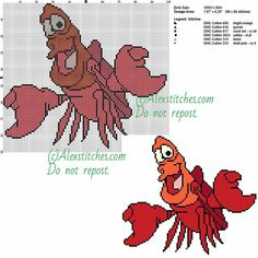 Sebastian The Little Marmaid free cross stitch pattern 100x90 6 colors
