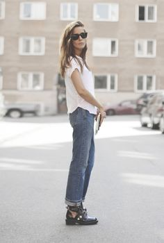 denim & cut-out boots #style #fashion
