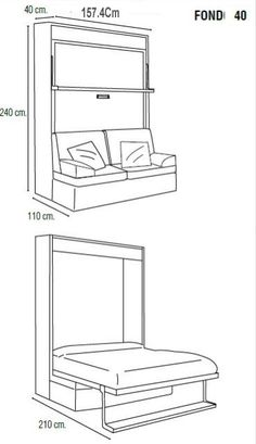 Folding Furniture, Smart Furniture, Space Saving Furniture, Bed Furniture, Furniture Design, Cama Murphy, Build A Murphy Bed, Murphy Bed Plans, Murphy Bed Ikea
