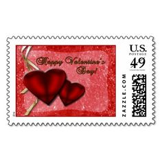 Red Glitter Hearts Stamps