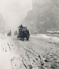 "arsvitaest: """"Winter, Fifth Avenue"" Author: Alfred Stieglitz (American, 1864-1946) Medium: Photogravure Exhibited: Troisième Exposition d'Art Photographique, Galerie des Champs-Elysées, Paris, May 12-31, 1896 """
