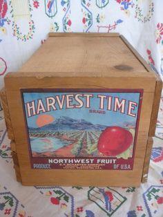 vintage fruit crate, wooden fruit packing crate with lid, Yakima, Washington. $35.00, via Etsy.