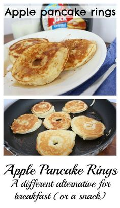 Sliced apple pancake rings - a delicious & different breakfast. - Apple pancake rings – as breakfast, for brunch or for an after school snack! Breakfast Snacks, Breakfast For Dinner, Breakfast Recipes, Apple Breakfast, Kid Snacks, Lunch Snacks, Free Breakfast, Apple Recipes, Gourmet Recipes