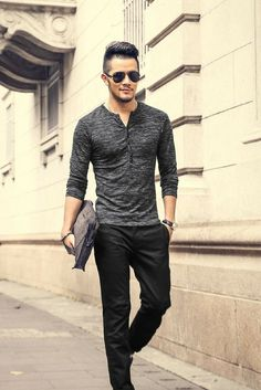 Details: • Heathered • Henley style front • Longe sleeve • Slim fit Fabric & Care: • Cotton, Lycra, Spandex • Machine wash • Imported